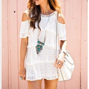 Raga cold-shoulder Lace Mini Dress